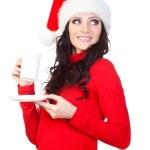 Woman holding a coffee mug and plate — Stock Photo
