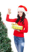 Woman holding toy for fur tree — Stock Photo
