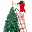 Woman decorating the fur tree on stepladder - Foto Stock