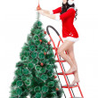 图库照片: Womdecorating fur tree on stepladder