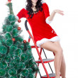 Woman santa helper decorating the fur tree on stepladder - Foto Stock