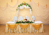 A table for the newlyweds — Stock Photo