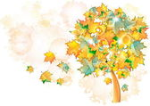 Tree with falling leaves — Stock Vector