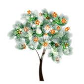 卡设计与程式化的树木和文本 — 图库照片