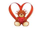 Vector bear and heart — Stock Photo