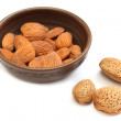 Almond kernels in the bowl — Stock Photo