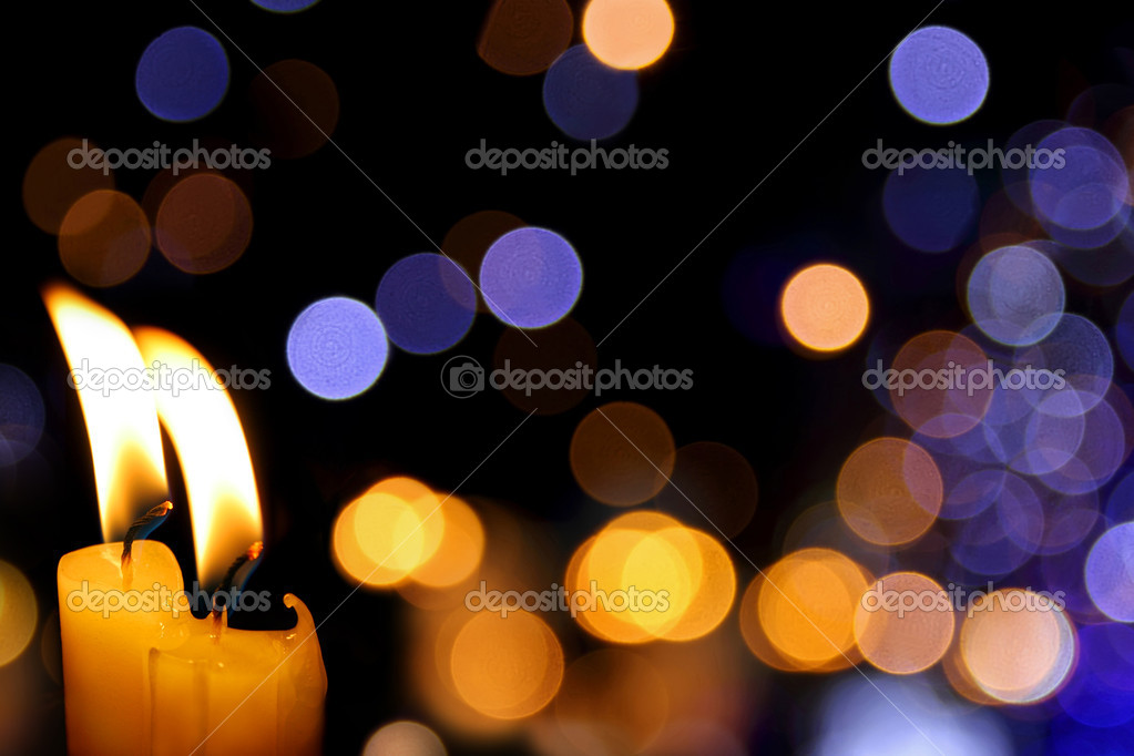 Party background with bright candles and defocused lights — Foto Stock #6875199