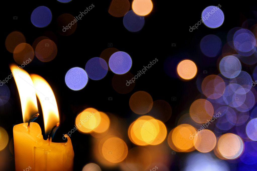 Party background with bright candles and defocused lights — 图库照片 #6875199