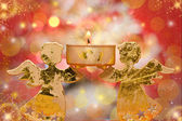 Christmas angels candle — Stock Photo