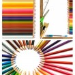 Colorful pencils and office supplies collage — Stock Photo