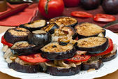 Eggplant, mushrooms, tomatoes — Stock Photo