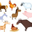 Stock Vector: Farm animal set