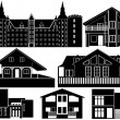 House silhouettes — Stockvectorbeeld
