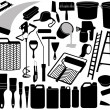 Illustration of different painting objects - Stock Vector
