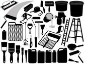 Illustration of different painting objects — Stock Vector