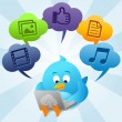 Stock Photo: Blue Bird is using Cloud Computing