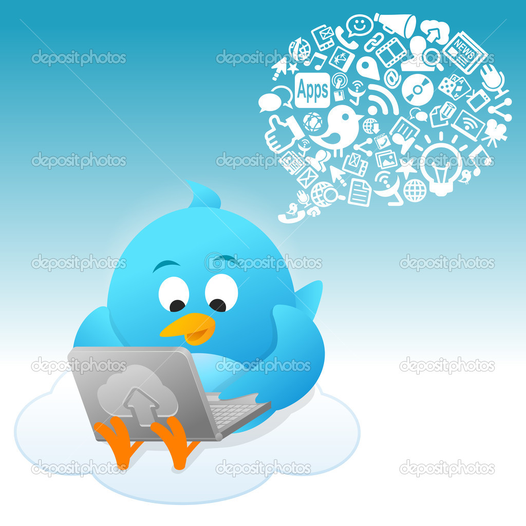A blue bird is on communication cloud — Stock Photo #7307889