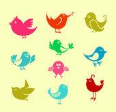 Ptaki kreskówki bazgroły — Wektor stockowy