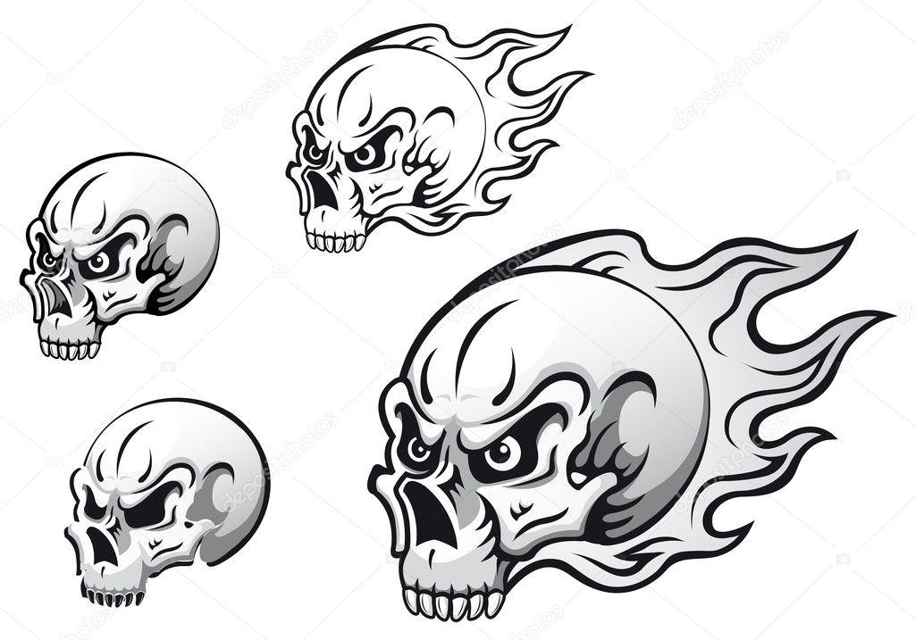 Skull tattoos - Stock Illustration
