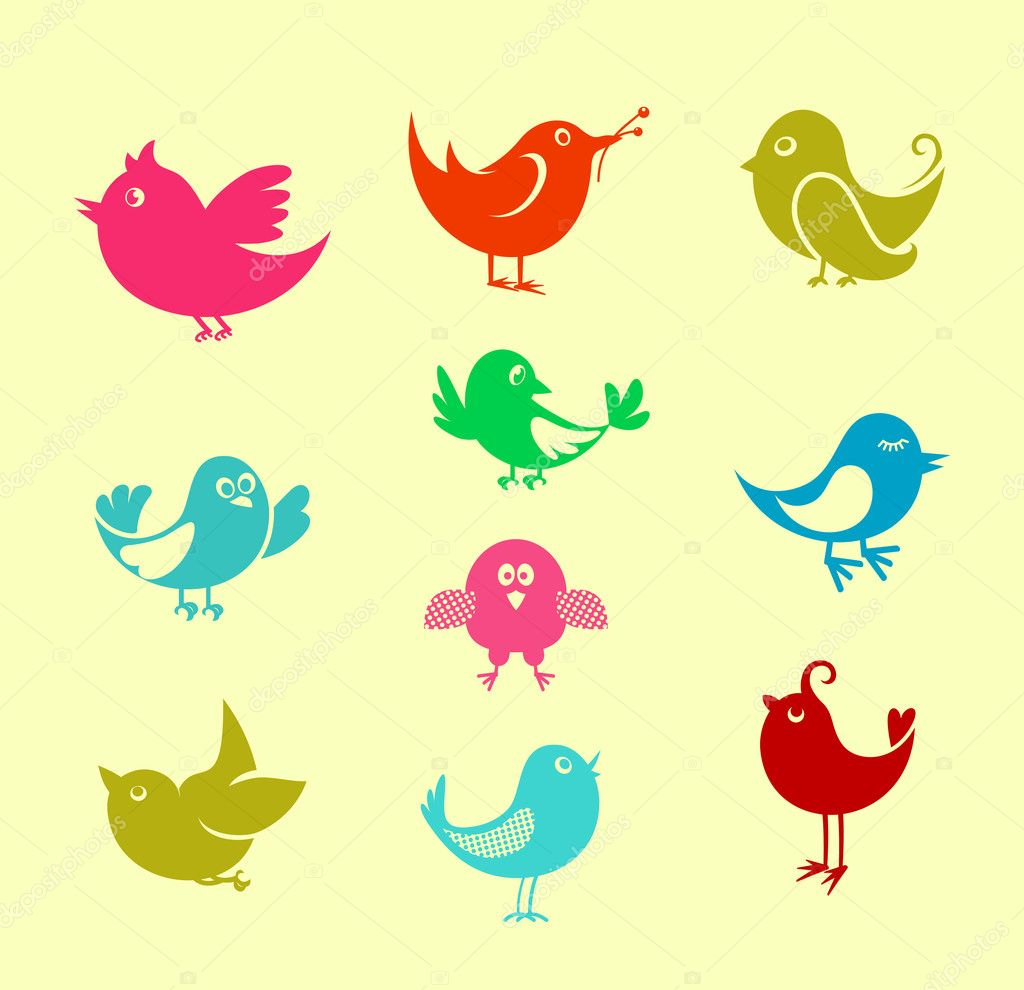 Set of cartoon doodle birds icons for communication networks design — Stock Vector #6845481