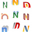Stock Vector: Alphabet letter N