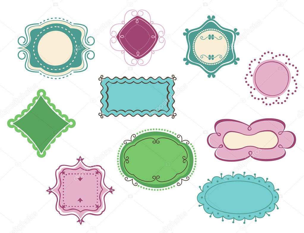 Doodle frames and borders set  for design  Stock Vector #6935255