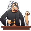 Stock Vector: Judge with gavel