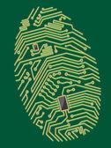 Color motherboard fingerprint — Stock Vector