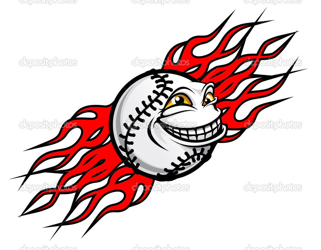 Flying funny baseball ball with fire flames for tattoo design — Stock Vector #7152776