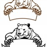 Wild kodiak bear with banner — Stock Vector