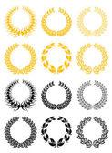 Set of laurel wreaths — Stock Vector