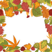 Autumnal leaves frame — Stock Vector