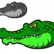 Green cartoon crocodile — Stock Vector
