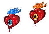 Retro hearts with eye — Stock Vector