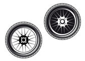 Car wheels and tyres — Stock Vector