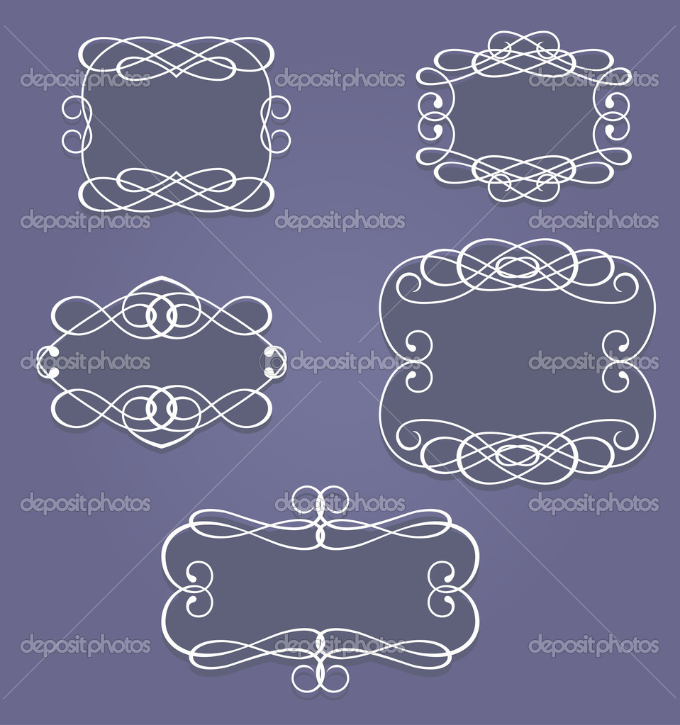 Set of vintage frames and borders in retro style — Stock Vector #7578729