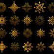 Set of golden snowflakes — Stock Vector