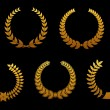 Golden laurel wreathes — Vettoriali Stock