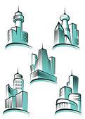 Skyscrapers symbols — Stock Vector