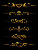Golden vintage dividers and borders — Stock Vector