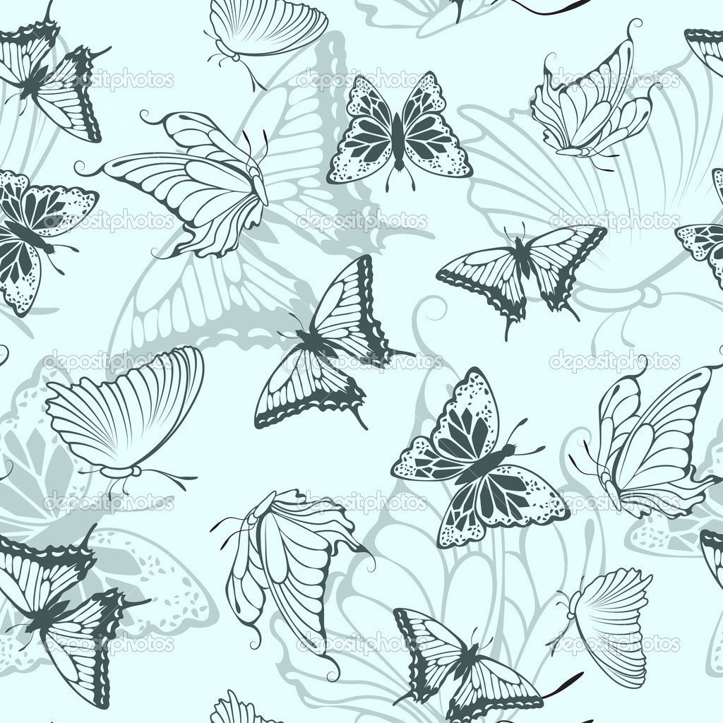 Seamless vector butterfly pattern. For easy making seamless pattern just drag all group into swatches bar, and use it for filling any contours.  Stock Vector #7228682