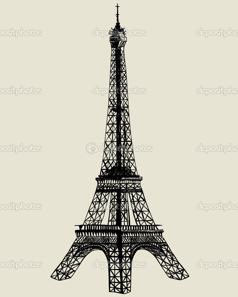 Eiffel tower. Vector sketch illustration for design use.  — Stock Vector #7313390