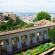 Alhambra palace and view of Granada city - Stock Photo
