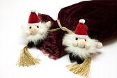 サンタ クロース グッズや派手な高級ギフト バッグ — ストック写真