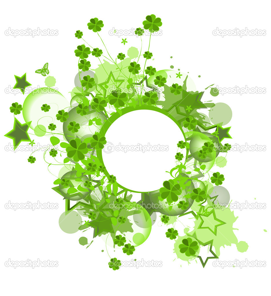 Saint Patrick design with clover leaves and stars — Stock Vector #7918992
