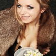 Girl in fur collar — Stock Photo