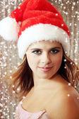 Portrait girl in cap Santa — Stock Photo