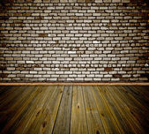 Room interior vintage with grunge white wall — Stock Photo
