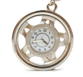 Round clock isolated on white — Stock Photo