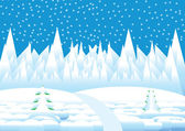 Vector winter landscape with white snowflakes and trees — Stock Vector
